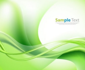 Bright Green Vector Waves Abstract Background Illustration